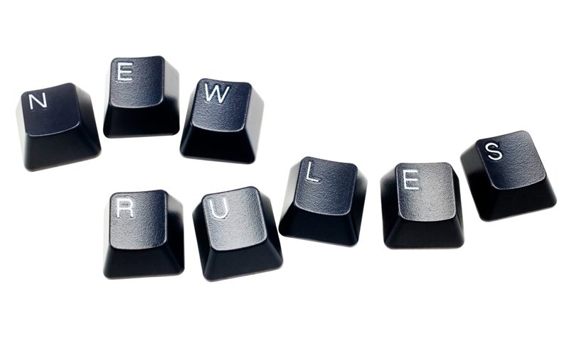 Text new rules made of computer keys